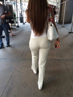 Small tight ass in dress pants with VPL