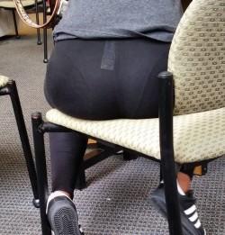 Dick teasing visible panty lines in leggings