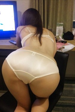 Fine Asian Ass in Full Back Satin Panties