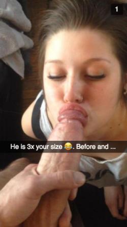 Girlfriend worships cock 3x the size of boyfriend