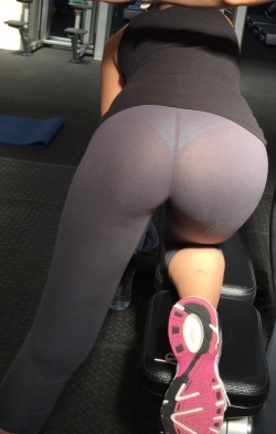Sheer Yoga Pants Reveal Pretty Panties