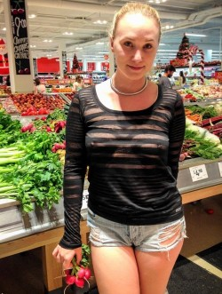 Braless grocery shopping is a new slut wife craze
