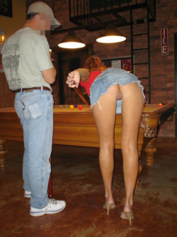 Exhibition wife kept winning at pool all night