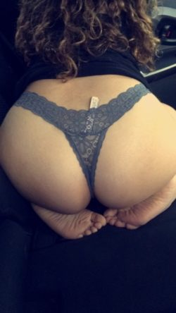 Lace thongs tucked in her thick booty