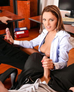 Going skiing in the office with a dick in each hand