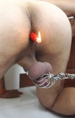 Chastity slave can't even blow out his birthday candle