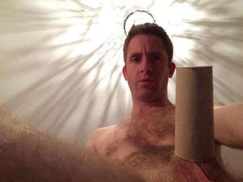 Nick fully hard inside a toilet roll tube