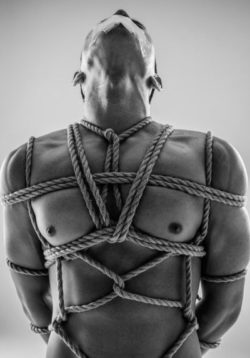 Male slave turned into tied up femdom artwork