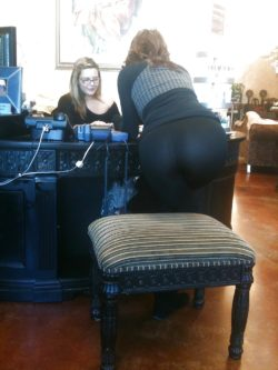 Coworker's fat ass and thongs showing through leggings