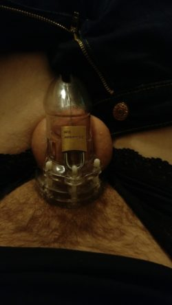 Fully hard in my clit cage!