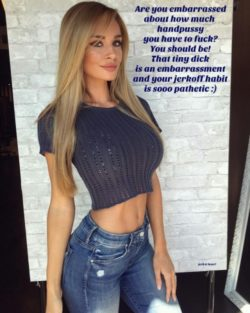Tiny dick embarrassed about hand-pussy caption