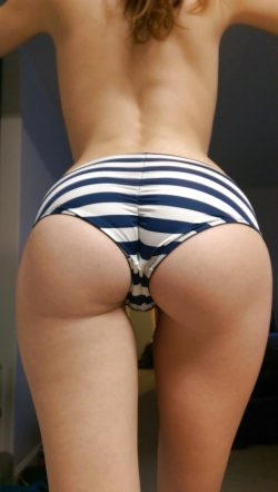 Cute bubble butt in striped panties