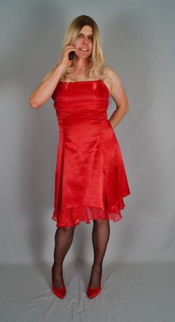Sissy Danielle Exposed in a Red Dress and Heels