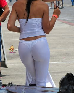 Sheer white pants with lace thongs? Absolutely!