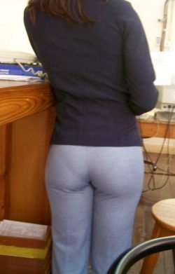 Secretary's Day panty lines in dress pants at the office