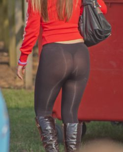 Sexy thong panty lines under leggings
