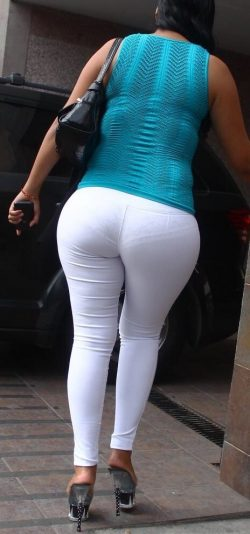 Lace panties and tight white pants are a great combo