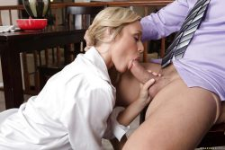 After tasting the tip she couldn't resist sucking that big uncut cock with her husband jer ...