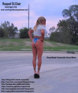 Raquel St.Clair the Cheap Blonde Transvestite Street Whore