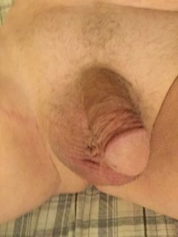 Rare moment when my cute little shaved thing wasn't locked in chastity