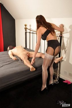 High Heel Domme Busts Panty Sniffer