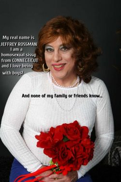 JEFFREY ROSSMAN FROM CONNECTICUT EXPOSED AS A SISSY FAGGOT IN FULL MAKEUP HOLDING A BOUQUET OF ROSES