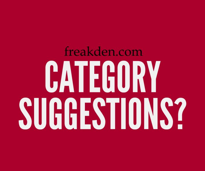Share your category suggestions!