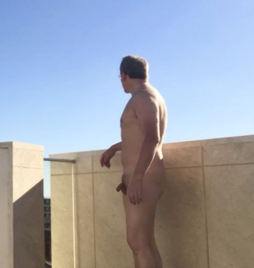 I took this photo out on the balcony today of me naked with a semi