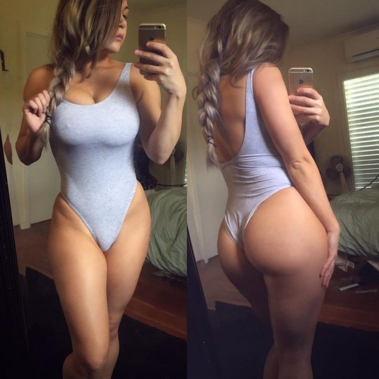 Leotard Selfie: Tits, Ass and Pussy Mound Showing