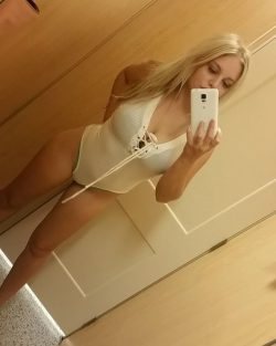 Big Titty Blonde in a Bodysuit Selfie