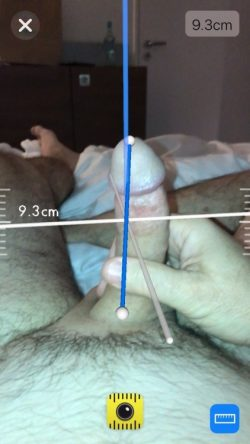 Laser Measured penis using the new iPhone measuring app