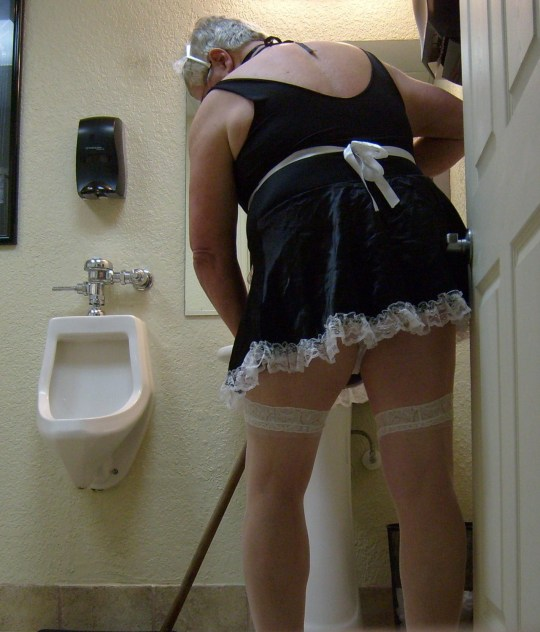 Sissy sent out to clean restrooms