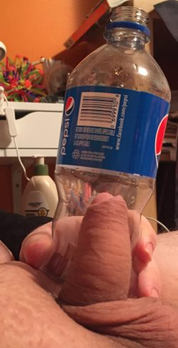 My clitty compared to a Pepsi bottle I drank