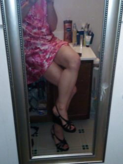 Sissy playing in female friends clothes