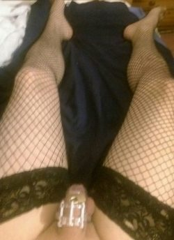 Locked up like a sissy cuckold while my wife is on a date