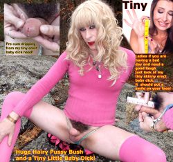 Sissy crossdresser with a huge hairy pussy bush and a tiny little micropenis! Women call this fe ...
