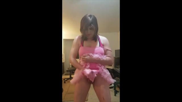 Saucy Shoemaker Creams her Pink Tutu and Panties