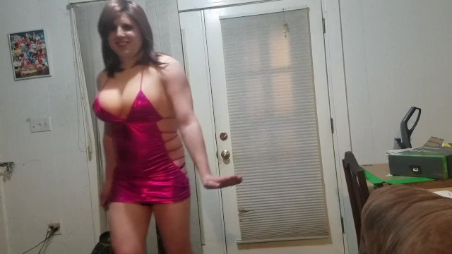 Sissy shows off big tits and clit to his neighbors