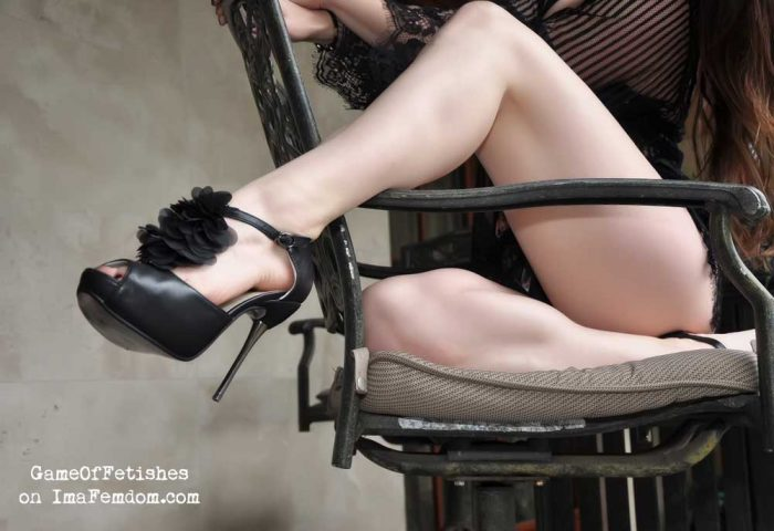 Lick my high heels or wear them?