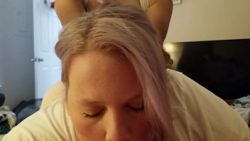 Wife getting pounded while she sucks hubby's cock