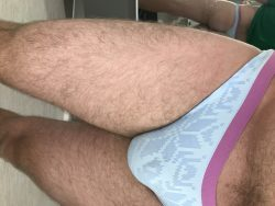 My boyfriend in his new panties