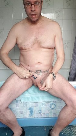 Adrian shaving off his pubes