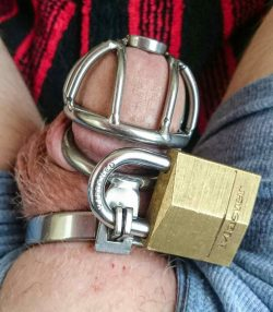 Put a keyed locked on his chastity cage
