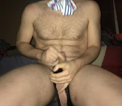 Loser tugs tiny dick with panties in his mouth
