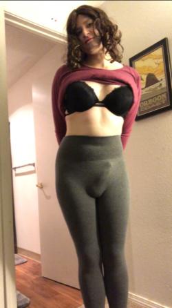 Sissy Cody modeling her leggings