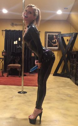 Latex dominatrix ready to strapon fuck you silly