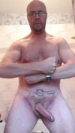 Adrian posing naked in the bathroom