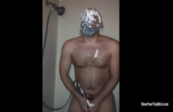 Little dick packing panty pervert caught in the shower