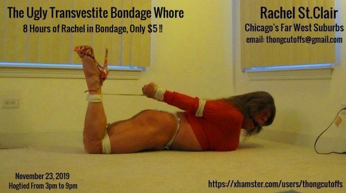 The Ugly Transvestite Bondage Whore Hogtied