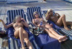Three nude blonde chicks